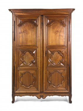 A Louis XV Provincial Walnut Armoire, Height 93 1/2