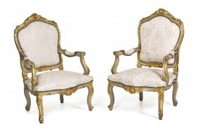 A Pair Of Louis XV Style Painted And Parcel Gilt Fa