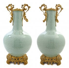 A Pair Of Gilt Bronze Mounted Celadon Vases, Height