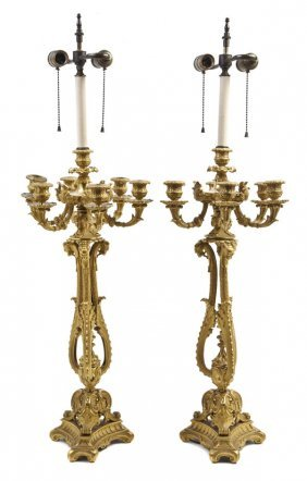 A Pair Of Continental Gilt Bronze Seven-Light Cande