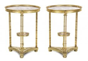 A Pair Of Louis XVI Style Gilt Bronze And Marble In