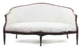A Louis XVI Carved Settee, Height 34 1/4 X Width 6