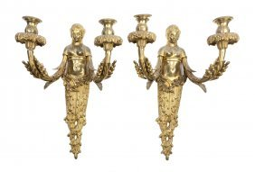 An Assembled Set Of Four French Gilt Bronze Two-Li