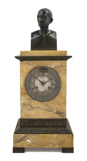 A Sienna Marble And Bronze Mounted Mantel Clock, H