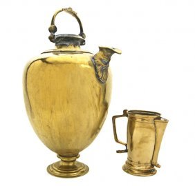 Two Continental Brass Pitchers, Height Of Taller 2