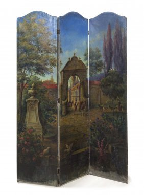 A Continental Three Panel Painted Floor Screen, He