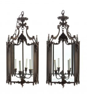 A Pair Of Bronze Lanterns, Height 30 1/2 Inches.