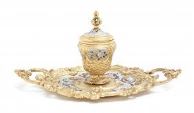 A Continental Gilt Bronze And Champleve Inkstand,