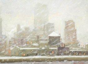 Johann Berthelsen, (American, 1883-1972), Snow Scene