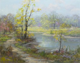 Charles Vickery, (American, 1913-1998), Spring Pond