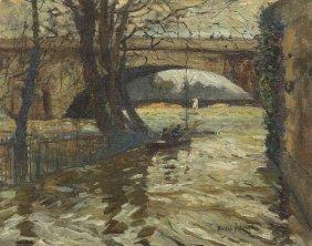 Hayley Lever, (American, 1876-1958), Boat Under Br