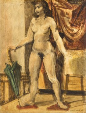 Reginald Marsh, (American, 1898-1954), Nude Woman,