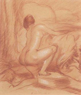 Everett Shinn, (American, 1876-1953), Kneeling Nud