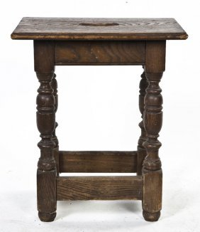 A Jacobean Oak Revival Stool, Height 20 X Width 1