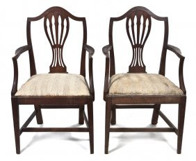 A Pair Of Sheraton Style Mahogany Open Armchairs,