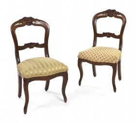 A Pair Of Victorian Balloon Back Side Chairs, Hei