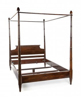 A Regency Style Mahogany Four Post Bed, Height 88