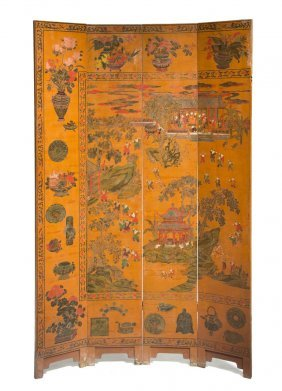 A Set Of Four Chinese Floor Screen Panels, Height