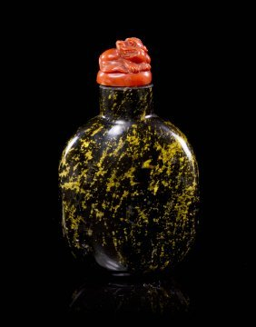 A Chinese Glass Snuff Bottle, Height 3 Inches.