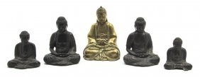 A Collection Of Four Cast Metal Figures Of Buddha