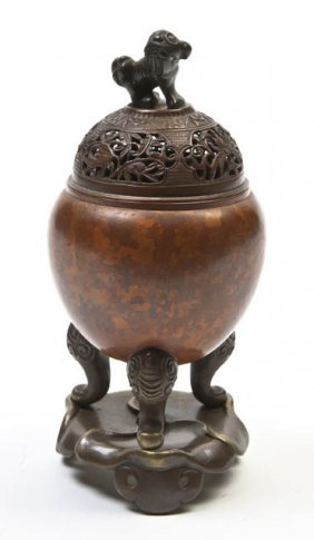 A Bronze Tripod Censer, Height Overall 7 Inches.
