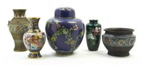 A Group Of Five Chinese Cloisonne Vases, Height O