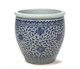 A Chinese Ceramic Jardiniere, Height 24 1/2 Inche
