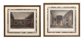 A Set Of Six English Handcolored Engravings, Height