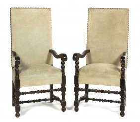A Pair Of Jacobean Revival Oak Armchairs, Height 55