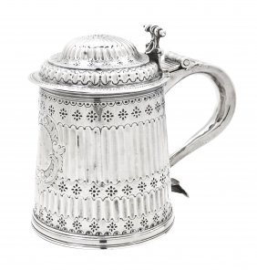 A William And Mary Silver Tankard, Height 6 1/2 Inch