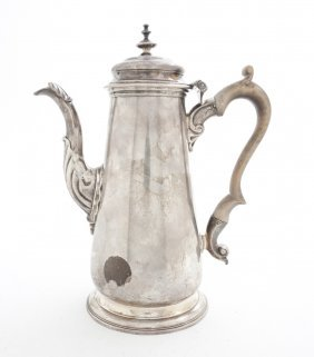 A George II Silver Coffee Pot, Height 9 1/4 Inches.