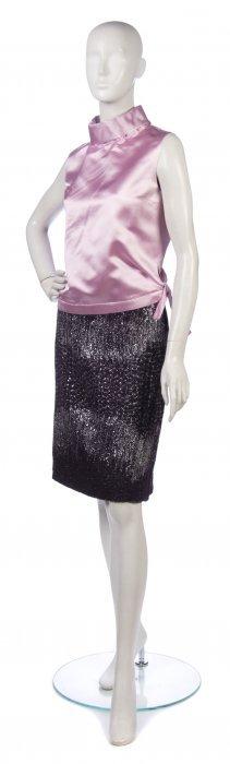 A Balmain Aubergine Wool And Silver Lurex Knit Skirt