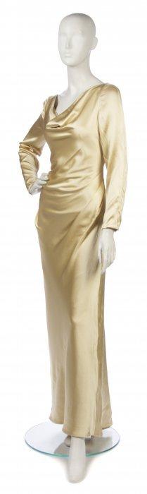 A Bill Blass Gold Silk Evening Gown, Size 10.