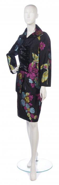 A Christian Lacroix Multicolor Silk Evening Suit, S