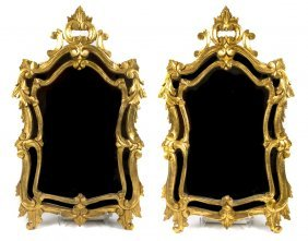 A Pair Of Louis XV Style Giltwood Mirrors, Height 3