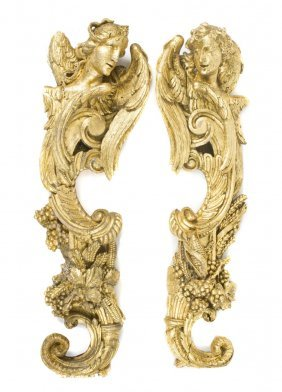 A Pair Of Giltwood Wall Appliques, Height 48 Inches