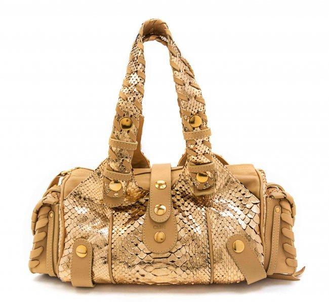 A Chloe Metallic Python Silverado Bag, 15 1/2 x 7 x 6 : Lot 83