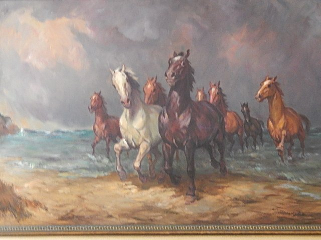 original oil painting quotwild horsesquot willy p ahrweiler lot 14