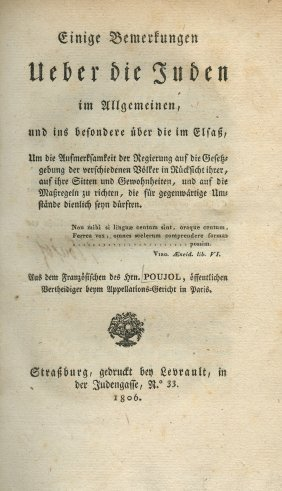 Book On The Jews Of Alsace - Strasburg, 1806