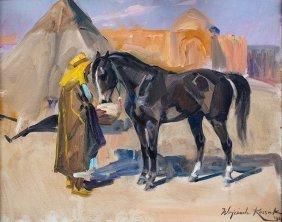 Wojciech Kossak, An Arb With A Horse