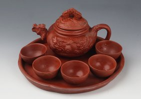A Set Of Yixing Zisha Teapot And Five Tea Cup