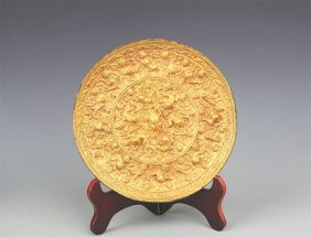 A Finely Gilt-bronze Bronze Mirror