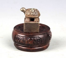 A Finely Tortoise Shaped Silver Plated Seal