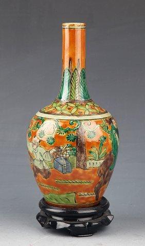 A Colorful Painted Longneck Porcelain Bottle