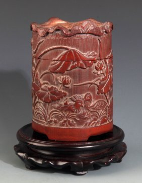 A Finely Carved Bamboo Grasshopper Box