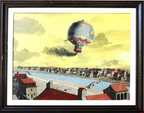 Historic Painting Of DeRozier's  Balloon