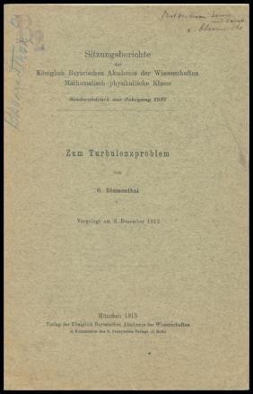 """Zum Turbulenzproblem"" By Blumenthal"