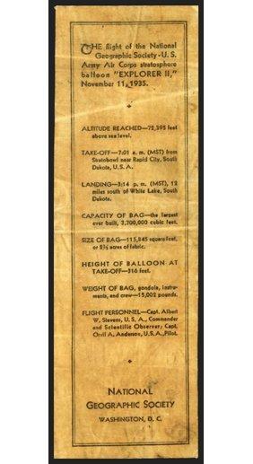 "1935, ""Explorer II"" FLOWN Balloon Fabric"