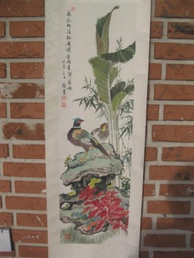 Chinese Hanging Scroll Painting, Birds On Rockery