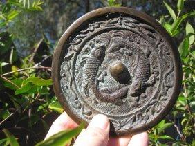 Jin Dyn (1115-1234) Chinese Bronze Mirror,- Double Carp